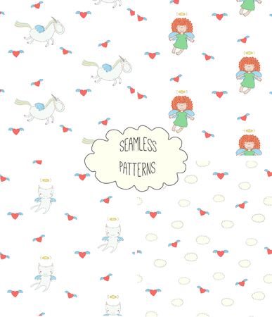 Set of four hand drawn cute seamless vector patterns with angel girl, winged cat, unicorn, hearts, clouds, on a white background. Design concept for children textile print, wallpaper, wrapping paper Illustration