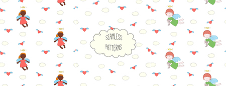 Set of hand drawn cute seamless vector patterns with little angel girls, one holding a cat, hearts, clouds, on a white background. Design concept for children textile print, wallpaper, wrapping paper Çizim
