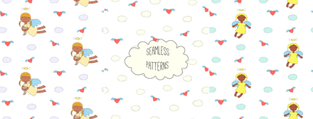 Set of hand drawn cute seamless vector patterns with little angel girls, one holding a cat, hearts, clouds, on a white background. Design concept for children textile print, wallpaper, wrapping paper Illustration