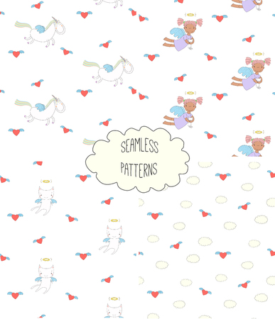 Set of four hand drawn cute seamless vector patterns with angel girl, winged cat, unicorn, hearts, clouds, on a white background. Design concept for children textile print, wallpaper, wrapping paper Çizim