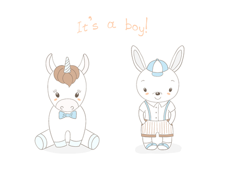 Hand drawn vector illustration of cute animal baby boys: smiling rabbit and unicorn, text It s a boy. Isolated objects on white background. Unfilled outline. Design concept for children.