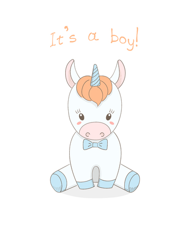 Hand drawn vector illustration of a cute little baby unicorn boy with a blue bow tie, text It s a boy. Isolated objects on white background. Design concept for children. Illustration