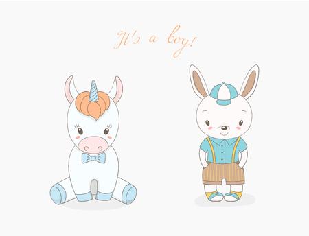 かわいい動物の赤ちゃん男の子の描かれたベクトル イラストの手: 笑顔のウサギの野球帽と蝶ネクタイ、本文とユニコーンそれ s 少年。白い可能に  イラスト・ベクター素材