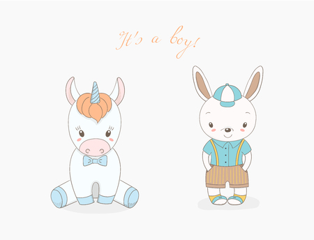 Hand drawn vector illustration of cute animal baby boys: smiling rabbit in a baseball cap and unicorn with a bow tie, text It s a boy. Isolated objects on white ckground. . Design concept for children