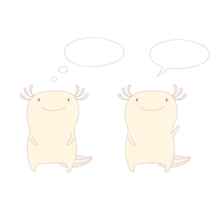 Hand drawn vector illustration of two cute funny axolotls standing, one waving, in soft colours, with empty speech balloons. Isolated objects on white background. Design concept for children. Illustration
