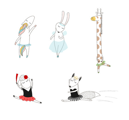 Hand drawn vector illustration of cute funny cartoon animal ballerinas dancing - sheep, fox, unicorn, bunny and giraffe. Isolated objects on white background. Design concept for children, dancing.