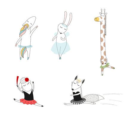 Hand getrokken vectorillustratie van leuke grappige cartoon dierlijke ballerina's dansen - schapen, vossen, eenhoorn, konijn en giraffe. Geïsoleerde objecten op witte achtergrond. Ontwerpconcept voor kinderen, dansen.