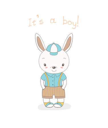 Hand drawn vector illustration of a little smiling bunny boy in baseball cap, shorts with suspenders and sports shoes, text It s a boy. Isolated objects on white background. Design concept for kids.