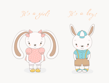 Hand drawn vector illustration of little smiling bunny boy in shorts with suspenders and girl with ribbons, text It s a boy, It s a girl. Isolated objects on white background. Design concept for kids Illusztráció