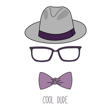 Hand drawn minimalistic vector illustration of a fedora hat, vintage glasses and bow tie, with text Cool dude. Isolated objects on white background. Design concept for fashion.