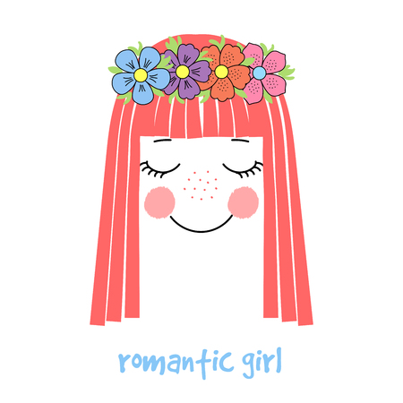 Hand drawn vector illustration of a cute and funny girl face with long hair and flower chain, text Romantic girl. Unfilled outline. Isolated objects on white background. Design concept for children.