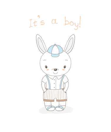 Hand drawn vector illustration of a little smiling bunny boy in baseball cap, shorts with suspenders, text It s a boy. Isolated objects on white background. Unfilled outline. Design concept for kids. Illusztráció