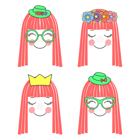 Hand drawn vector illustration of a cute and funny girl faces with long hair, flower chain, crown, hats and glasses. Unfilled outline. Isolated objects on white background. Design concept for kids.