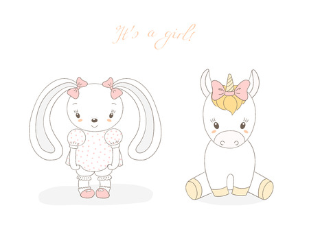 Hand drawn vector illustration of cute animal baby girl: smiling rabbit and unicorn with ribbons, text It s a girl. Isolated objects on white background. Unfilled outline. Design concept for children. Illustration
