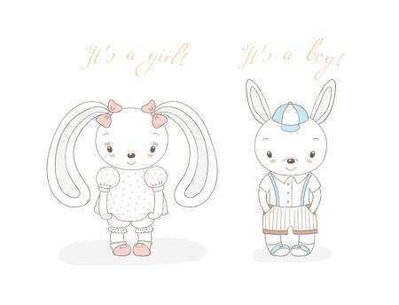 Hand getrokken vector illustratie van een beetje lachende bunny jongen in korte broek en meisje met bogen, tekst Het is een jongen, het is een meisje. Geïsoleerde objecten op witte achtergrond. Ongevulde omtrek. Ontwerpconcept kinderen