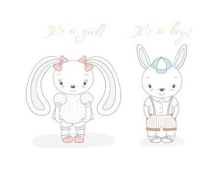 Hand drawn vector illustration of a little smiling bunny boy in shorts and girl with bows, text It s a boy, It s a girl. Isolated objects on white background. Unfilled outline. Design concept kids