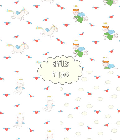 Set of four hand drawn cute seamless vector patterns with angel girl, winged cat, unicorn, hearts, clouds, on a white background. Design concept for children textile print, wallpaper, wrapping paper 版權商用圖片 - 88834533