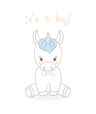 Hand drawn vector illustration of a cute little baby unicorn boy with a blue bow tie, text Its a boy. Isolated objects on white background. Unfilled outline. Design concept for children.