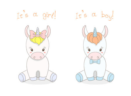 Hand drawn vector illustration of a cute little baby unicorns boy with a bow tie and girl with a ribbon, text It s a boy, It s a girl. Isolated objects on white background. Design concept for children