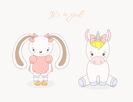 Hand drawn vector illustration of cute animal baby girls: smiling rabbit and unicorn with ribbons, text It s a girl. Isolated objects on white background. Design concept for children. Illustration