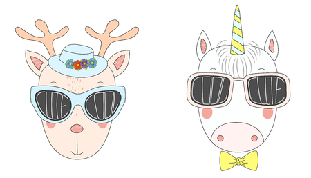 scrap book: Hand drawn vector illustration of a funny reindeer and unicorn in big sunglasses with words Cute and Cool written inside them. Isolated objects on white background. Design concept for children.