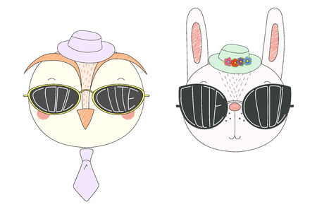 Hand drawn vector illustration of a funny owl and rabbit in hats and big sunglasses with words Cute and Cool written inside them. Isolated objects on white background. Design concept for children.