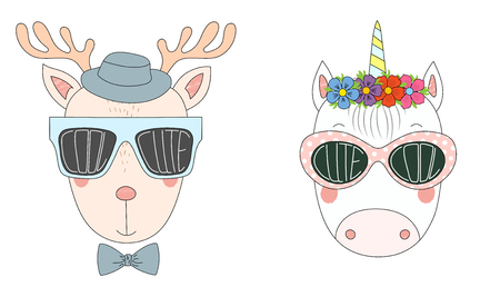 Hand drawn vector illustration of a funny reindeer and unicorn in big sunglasses with words Cute and Cool written inside them. Isolated objects on white background. Design concept for children.