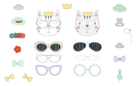 Hand drawn vector illustration of a cute funny cat heads with a set of different glasses, sunglasses, trendy hats and accessories. Isolated objects. Design concept for children. Do it yourself.
