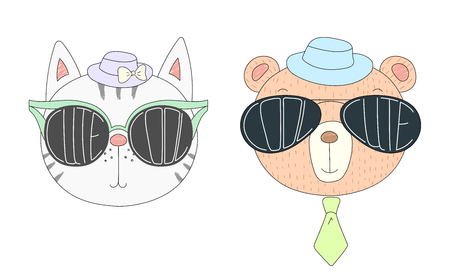 Hand drawn vector illustration of a funny cat and bear in hats and big sunglasses with words Cute and Cool written inside them. Isolated objects on white background. Design concept for children.