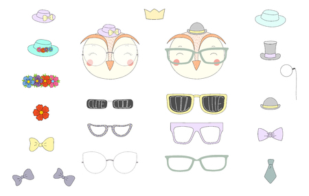 Hand drawn vector illustration of a cute funny owl heads with a set of different glasses, sunglasses, trendy hats and accessories. Isolated objects. Design concept for children. Do it yourself. Ilustração