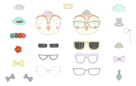 Hand getrokken vectorillustratie van een leuke grappige uil hoofden met een aantal verschillende bril, zonnebril, trendy hoeden en accessoires. Geïsoleerde objecten. Ontwerpconcept voor kinderen. Doe het zelf.