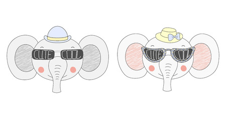 Hand drawn vector illustration of cute funny elephants in hats and big sunglasses with words Cute and Cool written inside them. Isolated objects on white background. Design concept for children.