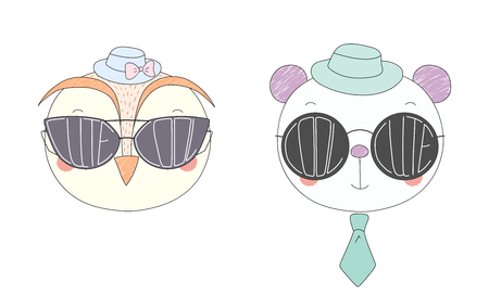 Hand drawn vector illustration of a funny owl and panda in hats and big sunglasses with words Cute and Cool written inside them. Isolated objects on white background. Design concept for children.