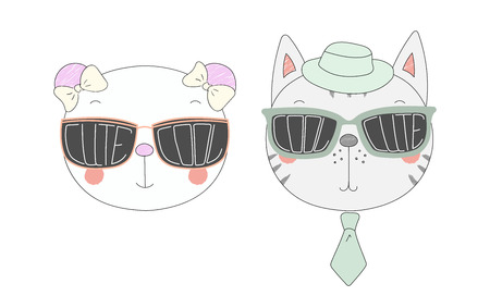 Hand drawn vector illustration of a funny panda and cat in big sunglasses with words Cute and Cool written inside them. Isolated objects on white background. Design concept for children. Ilustração