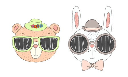 Hand drawn vector illustration of a funny bear and rabbit in hats and big sunglasses with words Cute and Cool written inside them. Isolated objects on white background. Design concept for children.