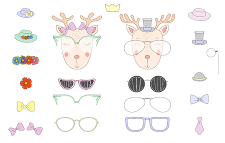 Hand drawn vector illustration of a cute funny deer heads with a set of different glasses, sunglasses, trendy hats and accessories. Isolated objects. Design concept for children. Do it yourself. Ilustração