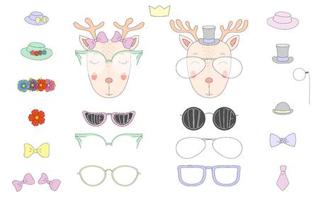 Hand getrokken vectorillustratie van een leuke grappige herten hoofden met een aantal verschillende bril, zonnebril, trendy hoeden en accessoires. Geïsoleerde objecten. Ontwerpconcept voor kinderen. Doe het zelf. Stock Illustratie
