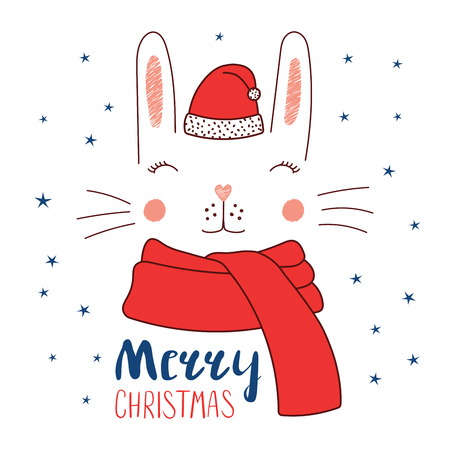 Hand drawn vector illustration of a cute funny bunny face in Santa Claus hat, muffler, text Merry Christmas. Isolated objects on white background with stars. Design concept for kids, winter holidays.