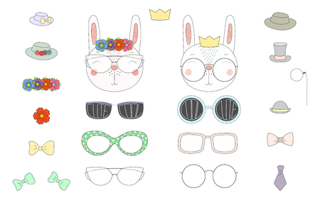 Hand drawn vector illustration of a cute funny rabbit heads with a set of different glasses, sunglasses, trendy hats and accessories. Isolated objects. Design concept for children. Do it yourself. Ilustração
