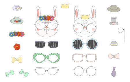Hand getekend vectorillustratie van een schattig grappig konijn hoofden met een aantal verschillende bril, zonnebril, trendy hoeden en accessoires. Geïsoleerde objecten. Ontwerpconcept voor kinderen. Doe het zelf. Stock Illustratie