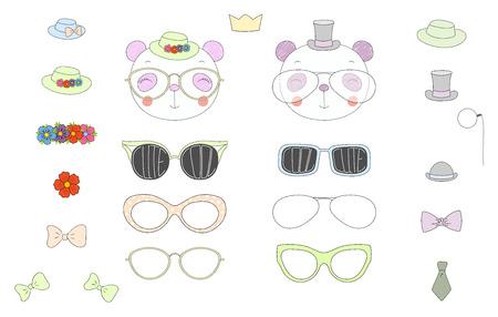 Hand getrokken vectorillustratie van een leuke grappige pandakoppen met een reeks verschillende glazen, zonnebril, trendy hoeden en toebehoren. Geïsoleerde objecten. Ontwerpconcept voor kinderen. Doe het zelf.