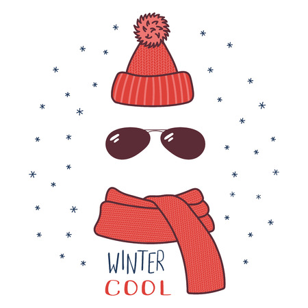 Hand drawn vector illustration of a warm funny knitted hat, sunglasses, muffler, text Winter cool. Isolated objects on white background with snowflakes. Design concept for winter, cold weather, snow.