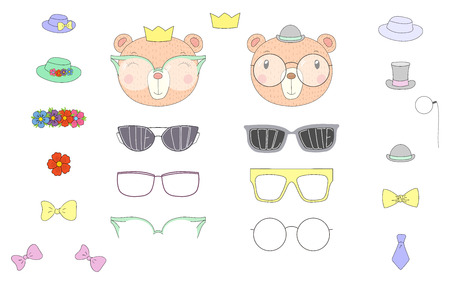 Hand drawn vector illustration of a cute funny bear heads with a set of different glasses, sunglasses, trendy hats and accessories. Isolated objects. Design concept for children. Do it yourself.