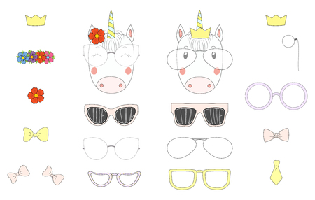 Hand drawn vector illustration of a cute funny unicorn heads with a set of different glasses, sunglasses, trendy hats and accessories. Isolated objects. Design concept for children. Do it yourself.