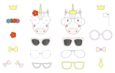 Hand getrokken vectorillustratie van een leuke grappige eenhoorn hoofden met een aantal verschillende bril, zonnebril, trendy hoeden en accessoires. Geïsoleerde objecten. Ontwerpconcept voor kinderen. Doe het zelf. Stock Illustratie