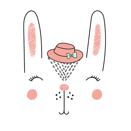 Hand drawn vector illustration of a funny bunny girl face in a hat. Isolated objects on white background. Design concept for children.