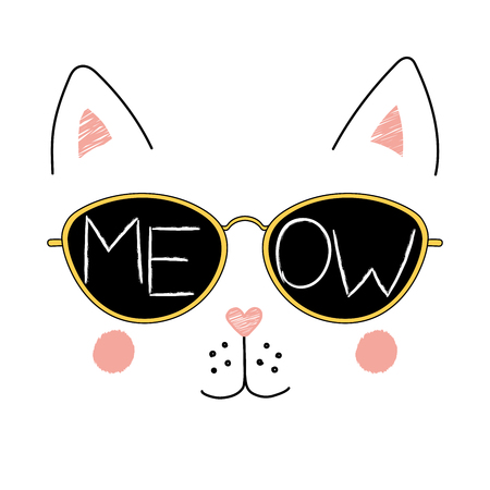 Hand drawn vector illustration of a funny cat face in sunglasses, with text Meow written inside the lenses. Isolated objects on white background. Design concept for children. Иллюстрация