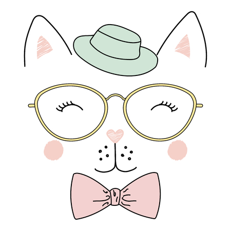 Hand drawn vector illustration of a cute funny cat face in a fedora hat, thin rim glasses and bow tie. Isolated objects on white background. Design concept for children.