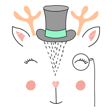 Hand drawn vector illustration of a cute funny deer face in a top hat and monocle. Isolated objects on white background. Design concept for children.