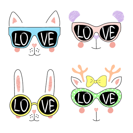 Set of cute hand drawn vector animal (bunny, cat, panda, reindeer) girl faces in sunglasses, with word Love written inside the lenses. Isolated objects on white background. Design concept for children